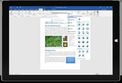 Et Surface-nettbrett som viser den nye funksjonen Fortell meg det i et Word-dokument.