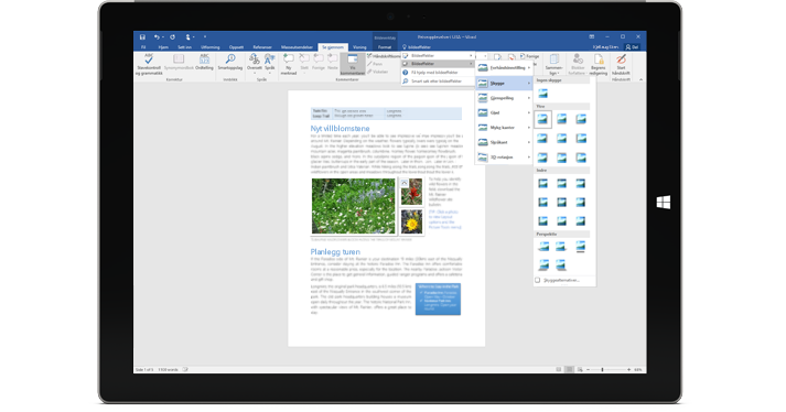 En Surface viser den nye fortell meg det-funksjonen i et Word-dokument.