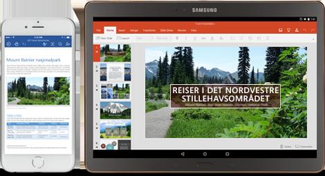 Office der du er: Telefon som viser redigering av et Word-dokument, og et nettbrett som viser redigering av lysbilder i PowerPoint.