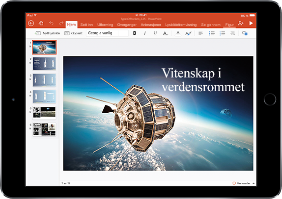 Et nettbrett som viser en presentasjon om forskning i verdensrommet. Lær om apper og funksjoner som kan hjelpe deg med å gjøre mer i Office
