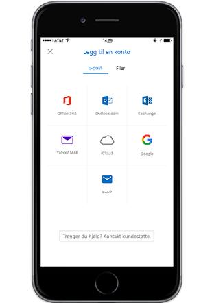 En smarttelefon som viser Legg til konto-skjermen i Outlook-mobil