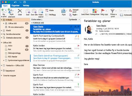 Et skjermbilde av en innboks med en meldingsliste og forhåndsvisning i Microsoft Outlook 2013.