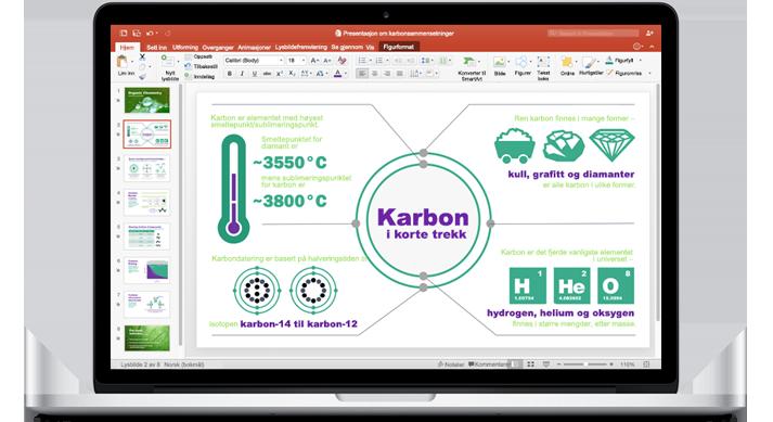 En MacBook viser en PowerPoint for Mac-presentasjon.
