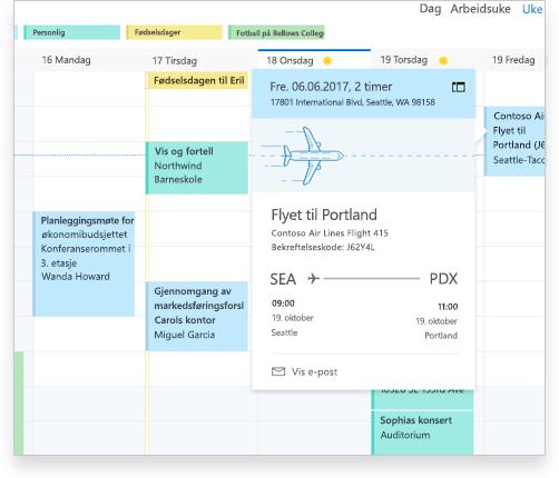 En Exchange-kalender som viser flyinformasjon og andre avtaler og hendelser