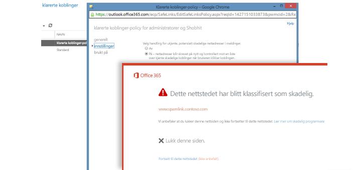 Vindu med policy for klarerte koblinger, og en Klarert kobling-advarsel til brukere.