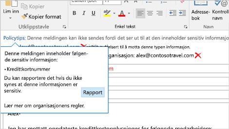 Nærbilde av en e-postmelding, med en advarsel om at sensitiv informasjon er i ferd med å sendes.