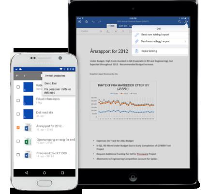 Et nettbrett og en smarttelefon som viser delingsmenyen i OneDrive for Business.