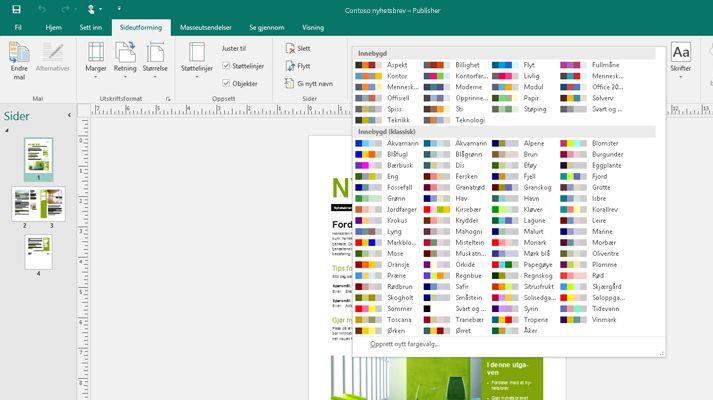 Et skjermbilde av en Publisher-publikasjon der bildeverktøy vises på båndet.