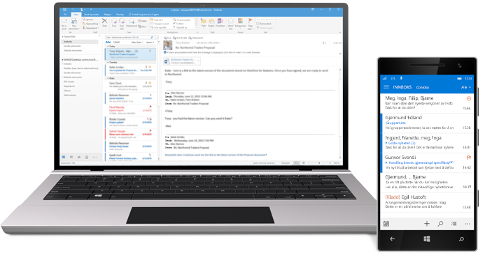 Et nettbrett og en smarttelefon viser innboksen for e-post i Office 365.