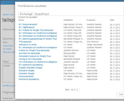Nærbilde av forhåndsviste resultater for et søk i Exchange Online.
