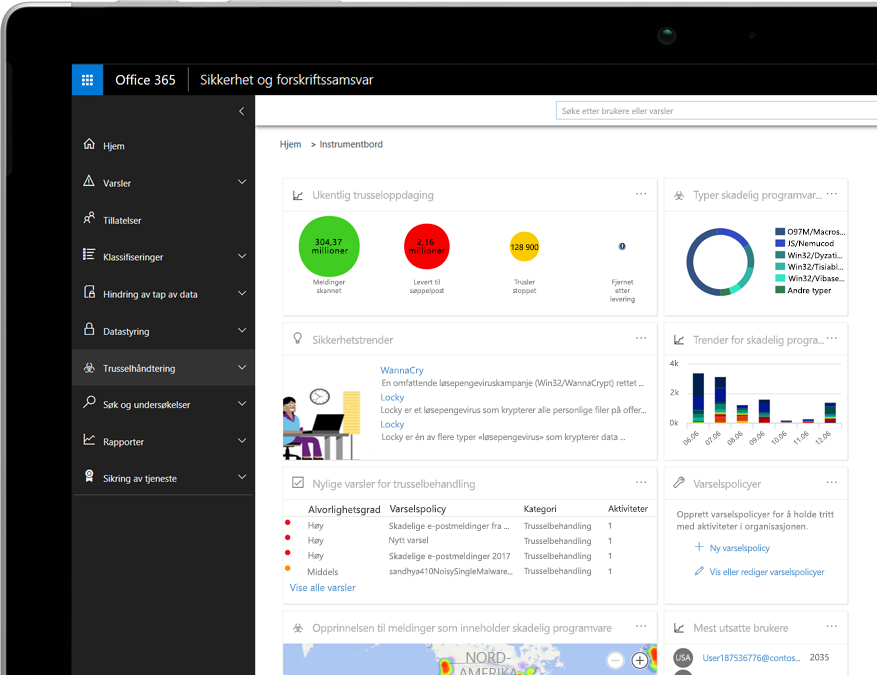 Instrumentbord for Office 365 Threat Intelligence på en bærbar datamaskin som kjører Windows