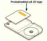 Produktnøkkelen er plassert i DVD-etuiet