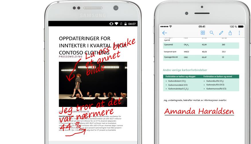 to smarttelefoner som viser dokumenter og håndskrevne notater om dokumentene