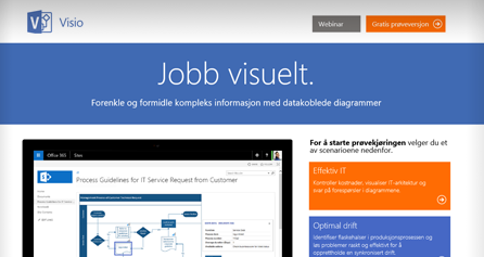 Visio TestDrive vises på en datamaskinskjerm, gjennomfør Visio TestDrive nå