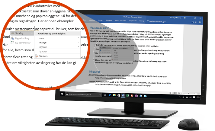 En PC-skjerm viser et Word-dokument med nærbilde av Redaktør-funksjonen som foreslår endring av et ord i en setning