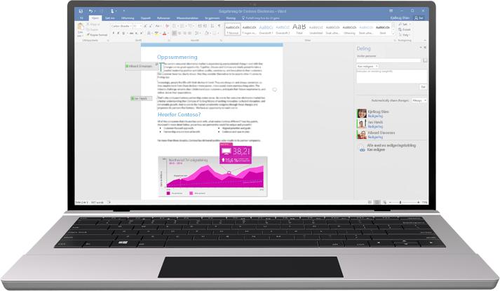 En bærbar datamaskin med et Word-dokument på skjermen som viser samtidig redigering i et tekstdokument.