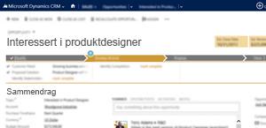 Et bilde av en salgsmulighetsside i Microsoft Dynamics CRM Online.