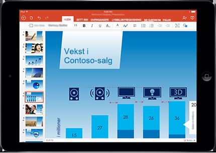Et nettbrett som viser et PowerPoint-lysbilde i presentasjonsmodus med markering.