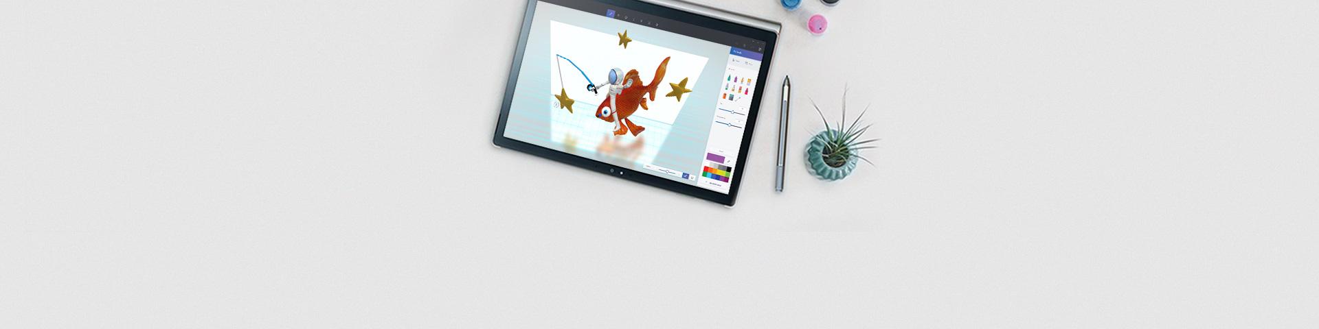 En PC-enhet på et skrivebord med en penn