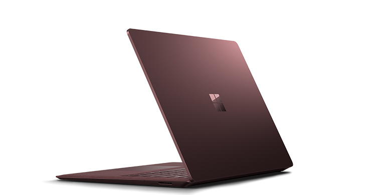 Surface Laptop i burgunder sett bakfra