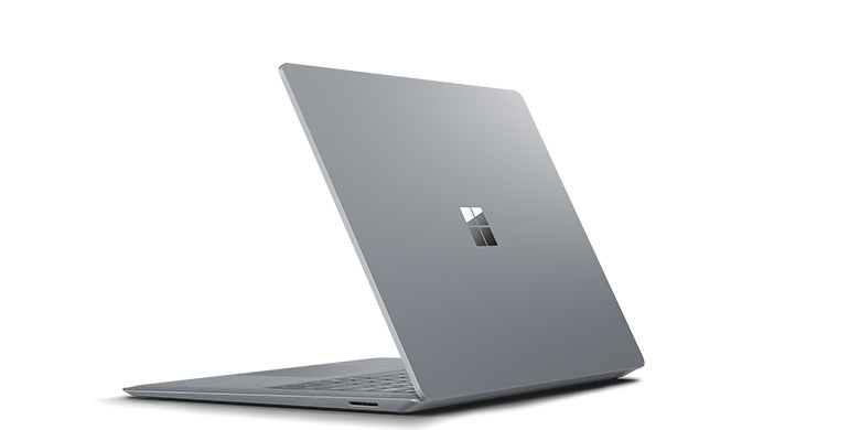Surface Laptop i platinafarge sett bakfra