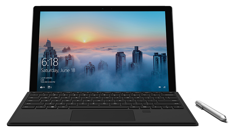 Surface Pro 4 Type Cover med fingeravtrykks-ID festet til Surface Pro-enhet, sett rett forfra, med bybilde på skjermen
