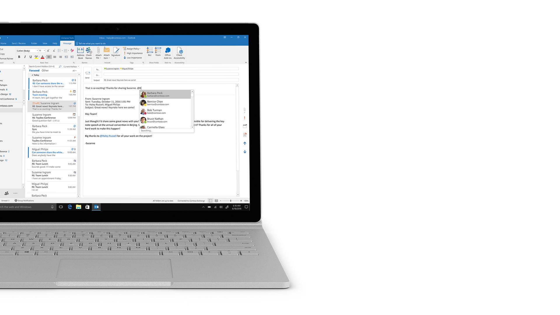 Outlook-skjermbilde på Surface.