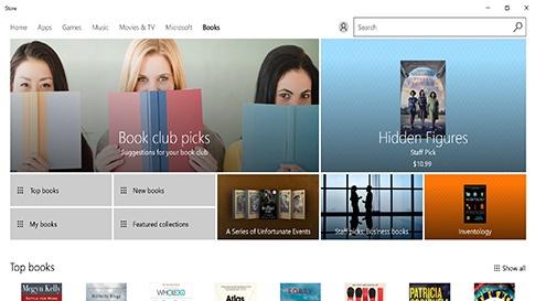 Microsoft Books i Windows Store og Microsoft Edge
