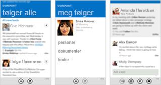 Tre skjermbilder av en SharePoint Online-nyhetsfeed på forskjellige mobile enheter.