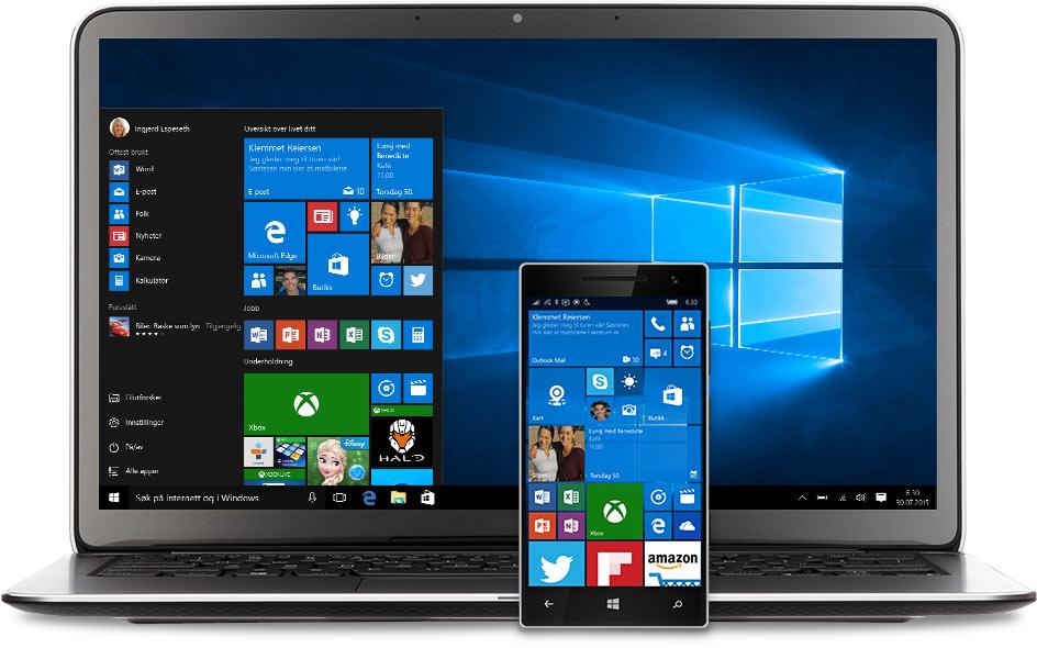 Bærbar datamaskin og telefon med Start-menyen i Windows 10