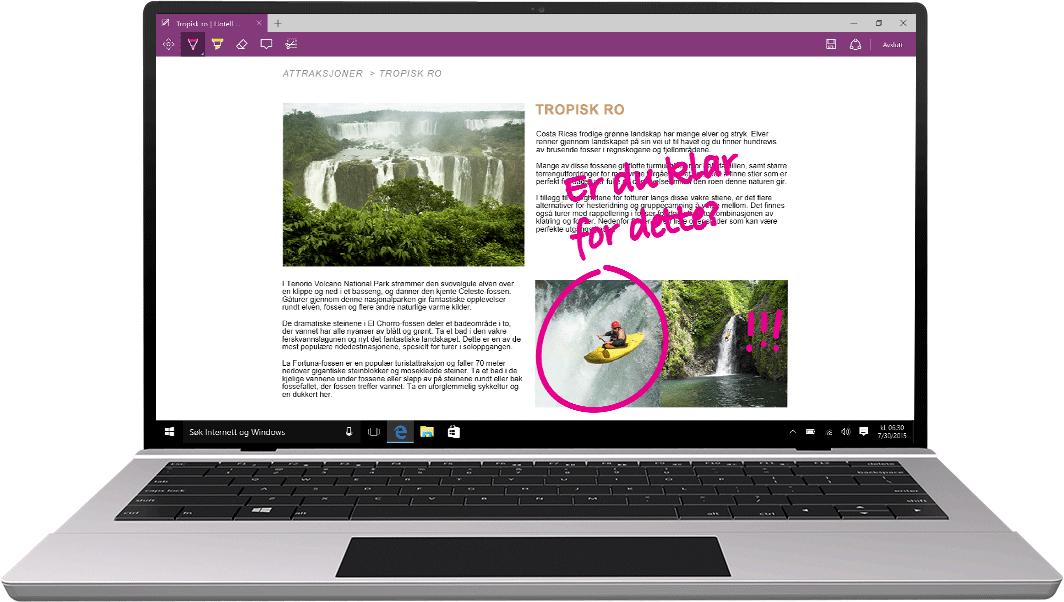 Bærbar datamaskin med Microsoft Edge