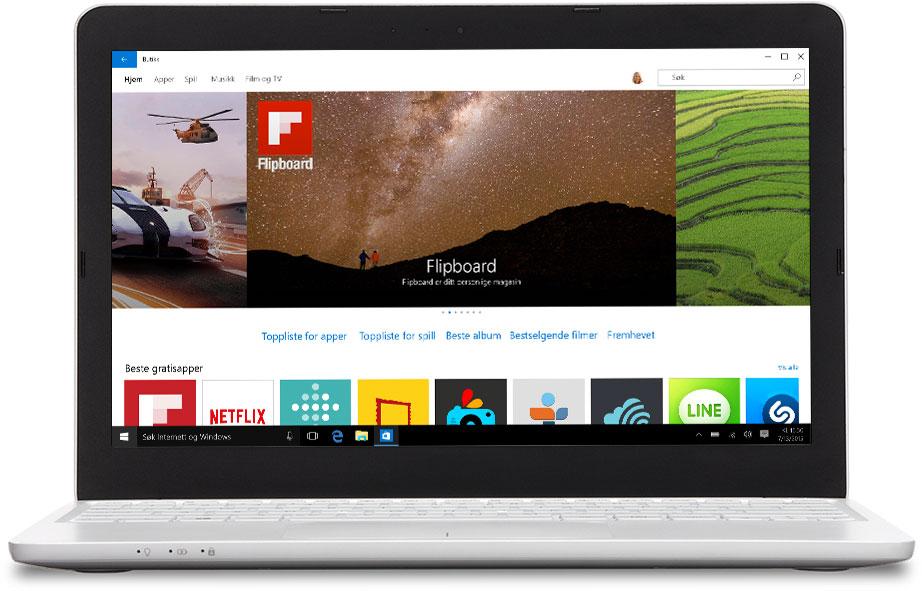 Bærbar datamaskin med Windows Store på skjermen