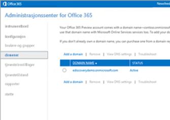 Nærbilde av en side i administrasjonssenteret for Office 365 der du kan administrere ExchangeOnlineProtection.