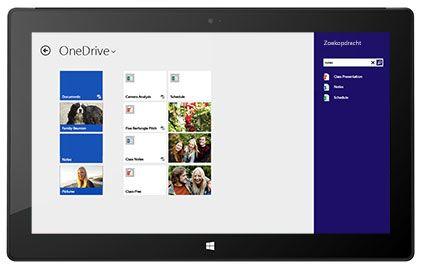 Een tablet met de persoonlijke opslag van een werknemer en een gedeelde pagina in Office 365.
