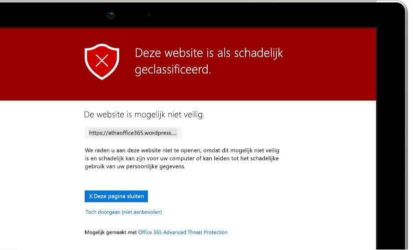 Close-upopname van een laptopscherm met daarop een waarschuwingsbericht