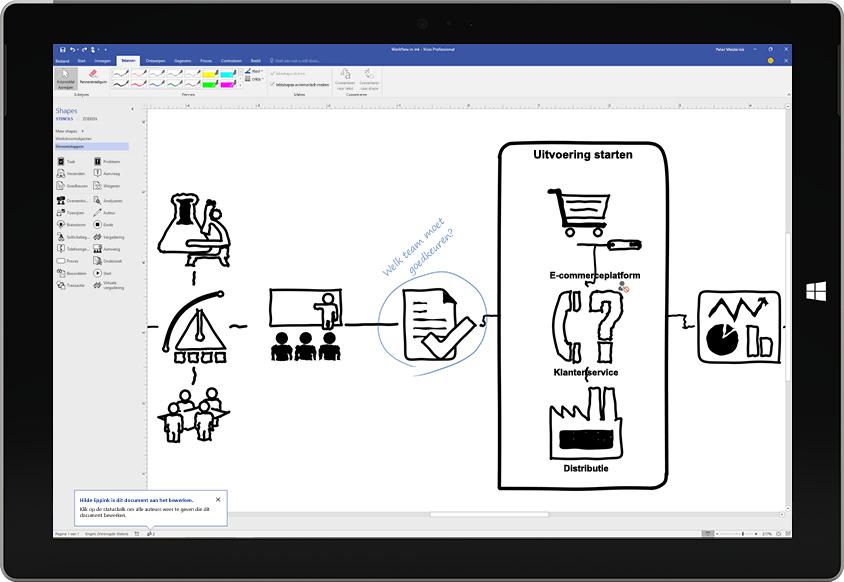 Een Surface-tablet met een procesdiagram dat in Visio op het scherm wordt getekend met een pen