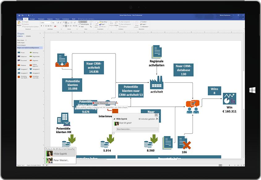 Een Surface-tablet met een voorbeeld van samenwerking aan een Visio-diagram, waarbij opmerkingen van andere gebruikers op het scherm verschijnen