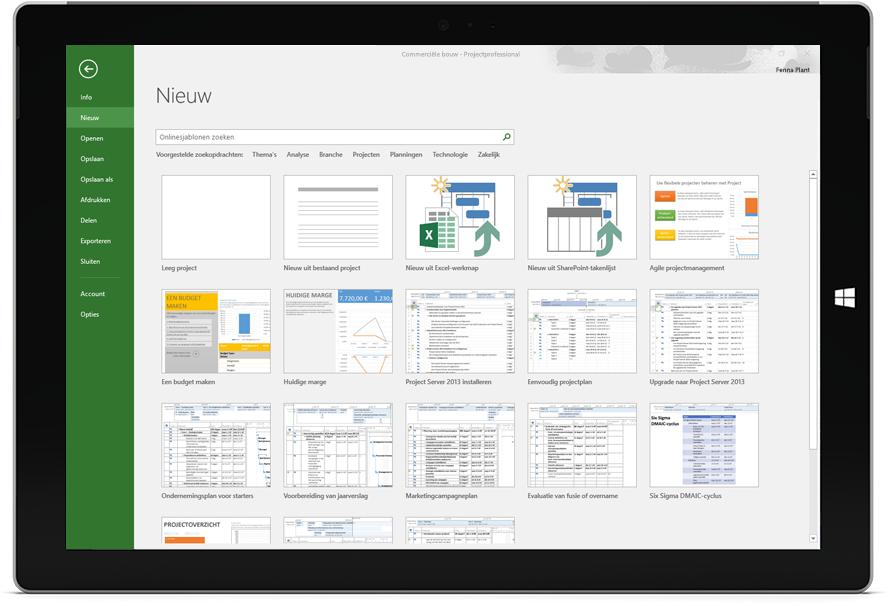 Microsoft Surface-tablet met het venster Nieuw project in Project Professional