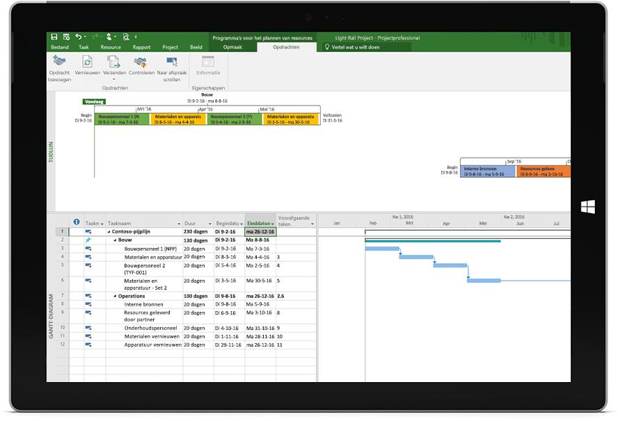 Scherm van een Microsoft Surface-tablet met een Project-bestand met een planning en tijdlijn in Project Professional.