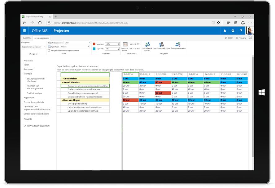 Tabletscherm met een capaciteit- en afsprakenheatmap van Microsoft Project in Office 365.