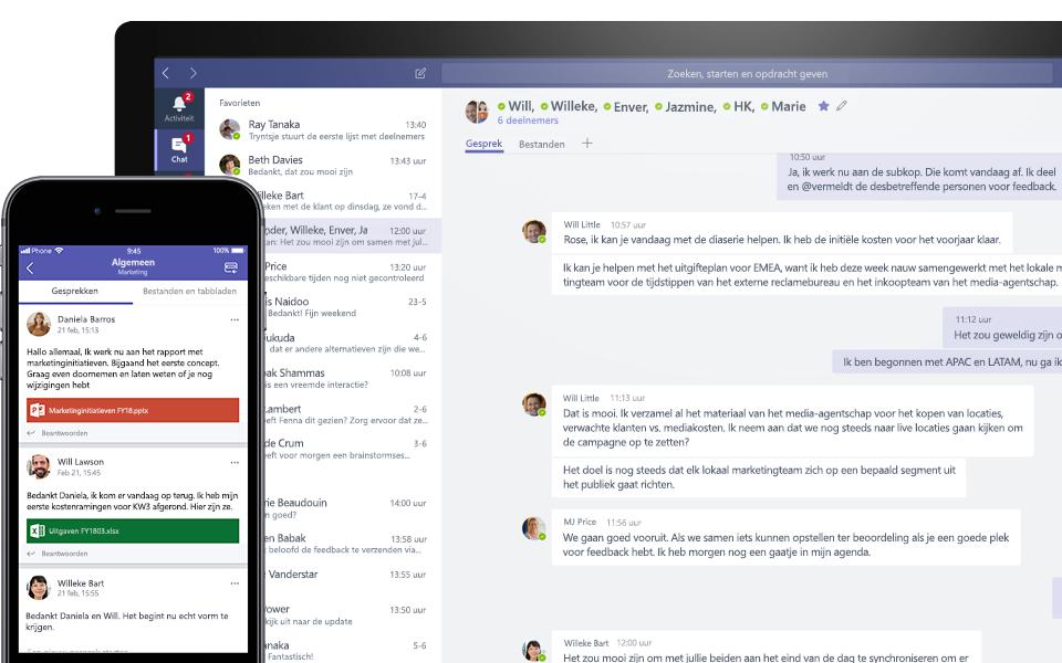 Teams-gesprek op een mobiel en een desktop-apparaat
