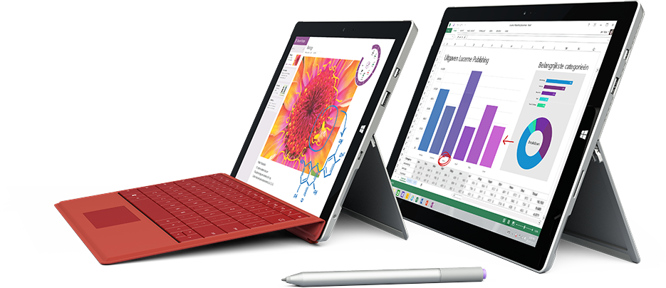 Twee tablets met partner-apps die werken met OneDrive voor Bedrijven