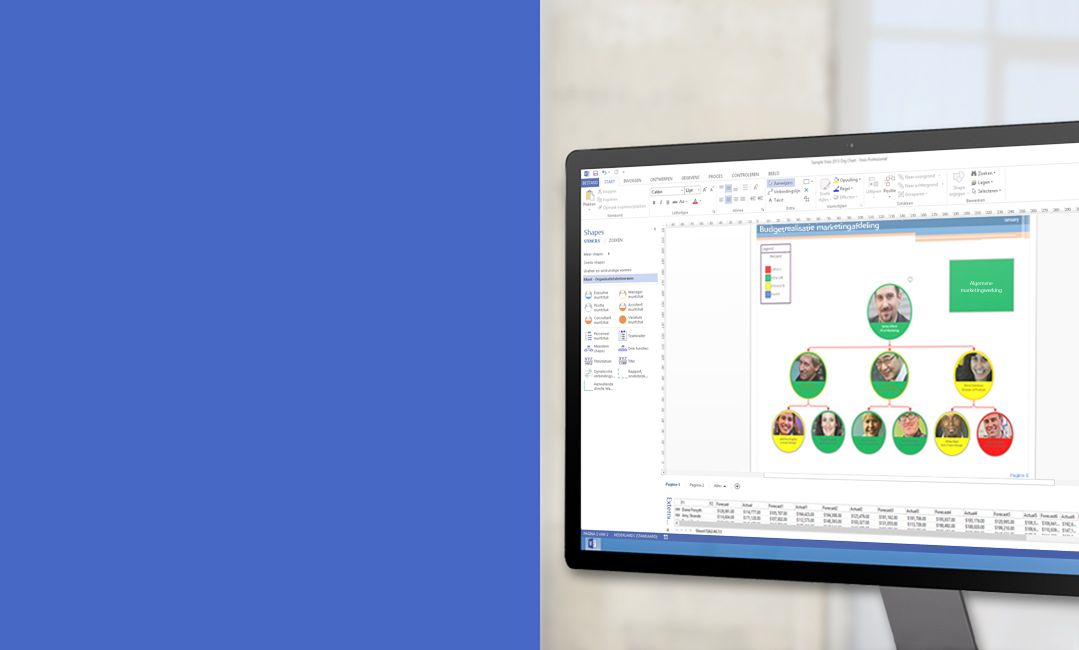 Een computerbeeldscherm met een diagram in Visio 2013.