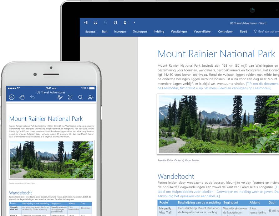 Een mobiele telefoon en een laptopscherm met een Word-document over Mount Rainier National Park