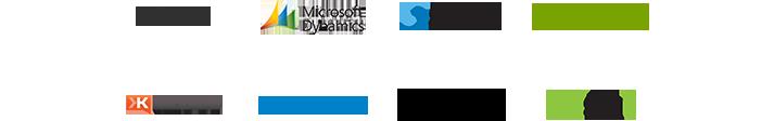 Logo's voor de GitHub-, Microsoft Dynamics-, Smarsh-, Zendesk-, Klout-, MindFlash-, GoodData- en Spigit-app, bezoek de gids met apps om zakelijke apps voor Yammer te zoeken en te verbinden