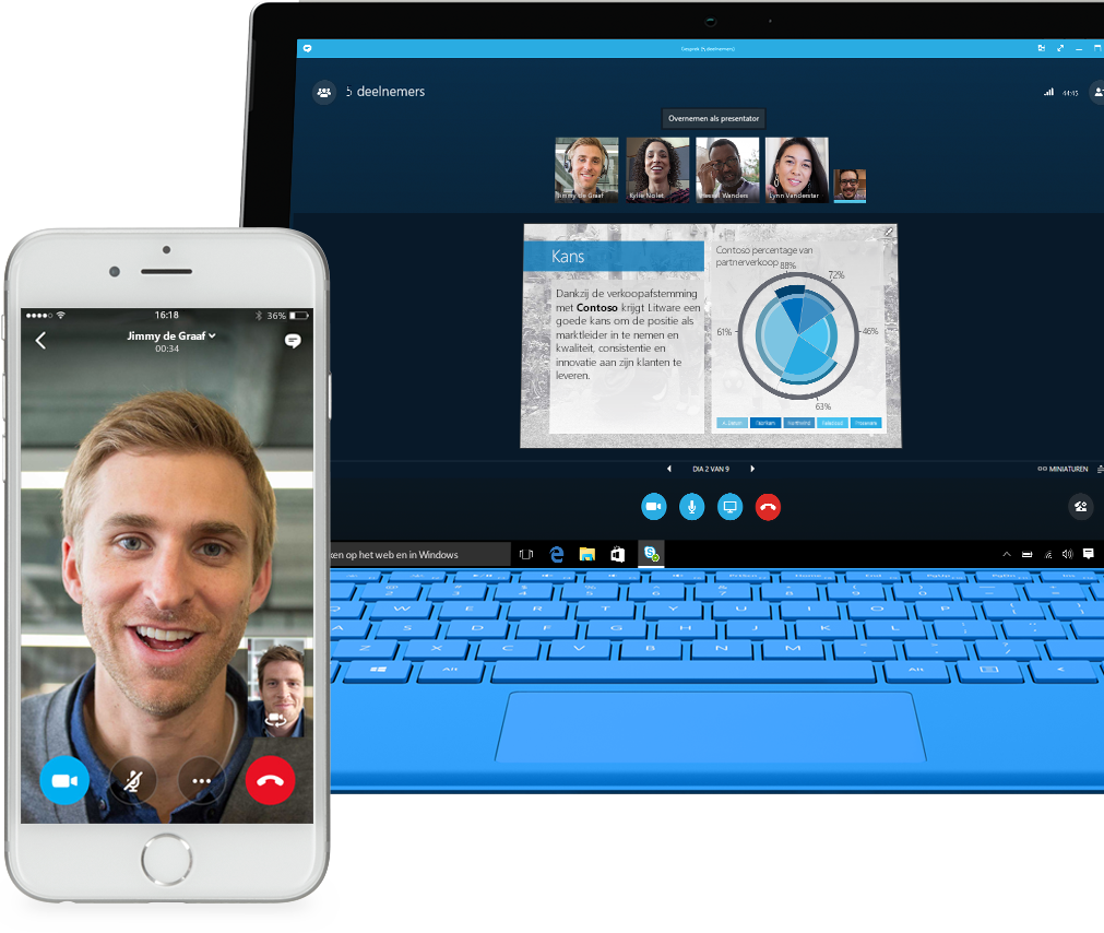 Een telefoon met daarop het gespreksscherm van Skype voor Bedrijven en een laptop met daarop een gesprek in Skype voor Bedrijven tussen teamleden die een PowerPoint-presentatie delen