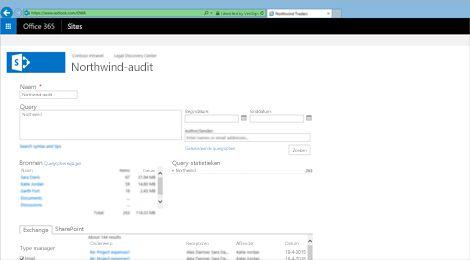 Een close-up van een lijst met voorbeeldresultaten van Exchange Online Archiving.