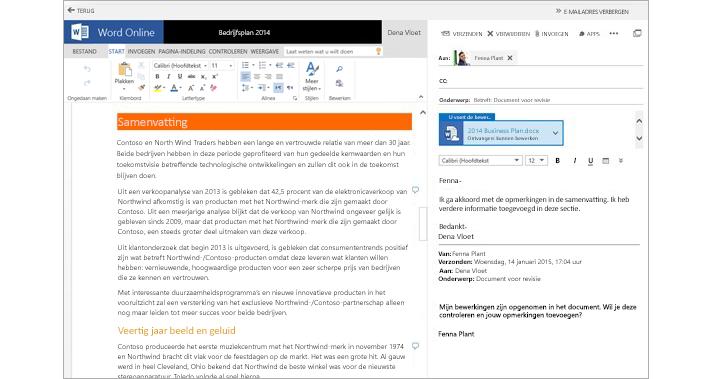 Een e-mailbericht dat wordt weergegeven naast een voorbeeldvenster voor documentbijlagen met Word Online