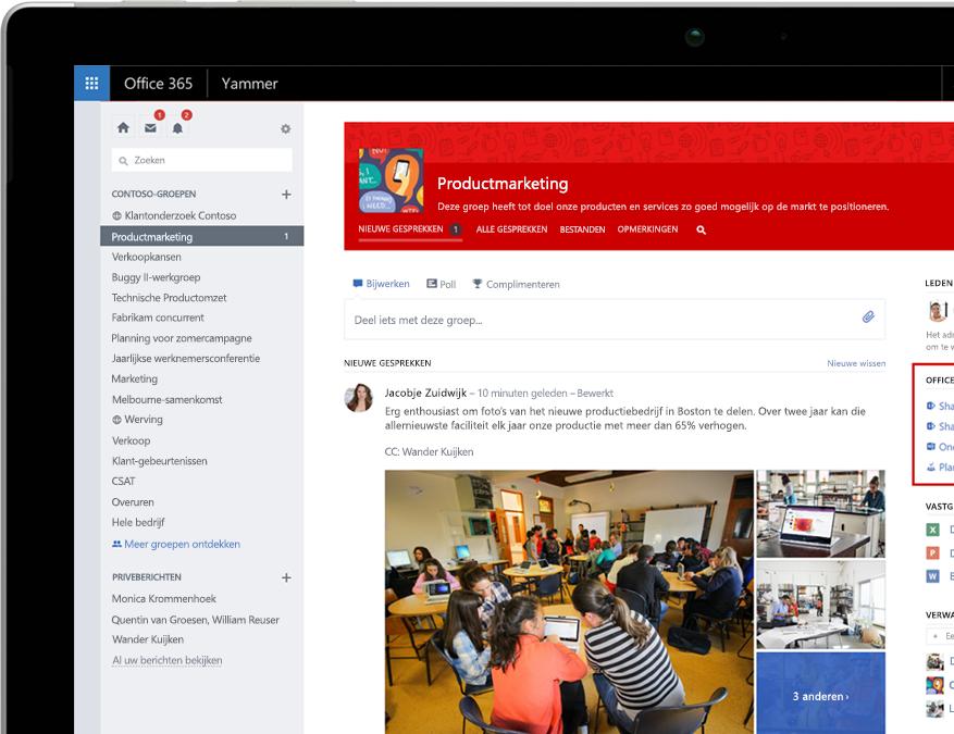 Yammer op een laptop met integratie met Office 365 Groepen