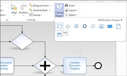 Close-up van het lint in een Visio-diagram, waar u eenvoudig toegang hebt tot taken.